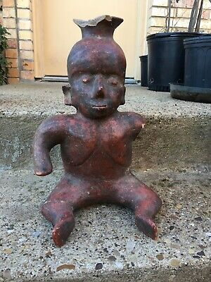 Pre-Columbian NAYARIT Mexico Pottery Large Seated Figure