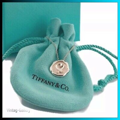 """TIFFANY & Co. Sterling Silver Paloma Picasso Loving Heart Pendant 16"""" Necklace"""