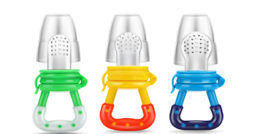 3 Pack Baby Food Feeders Teething Toy Pacifier Fresh Fruit Silicone Pouch Nipple