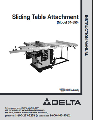 Delta 34-555 Sliding Table Attachment Owners Instruction Manual Comb Binding