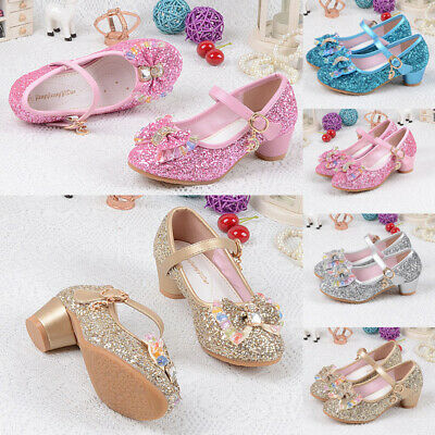 Kids Girl PU Princess Shoes Flower Bow Knot Glitter Child Casual High Heel Shoes