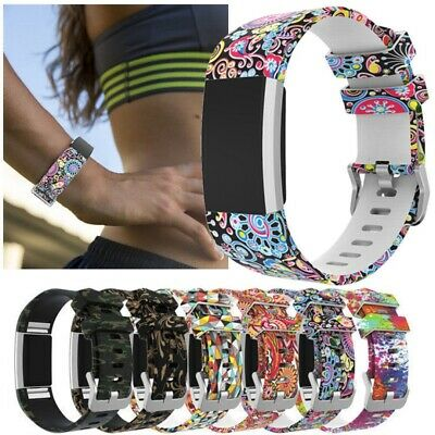 Replacement Silicone Printed Sport Wristband Strap For Fitbit Charge 2 Bracelet