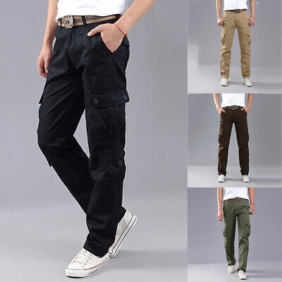 Mens Boys Outdoor Work Military Army Cargo Pants Multi-pockets Stretch Trousers