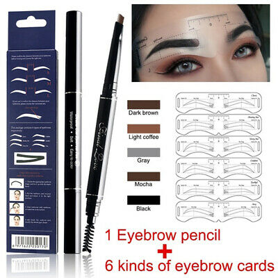 Eyebrow Tattoo Liner Pencil+6PCS Stencil Template Set Longlasting Waterproof  ^