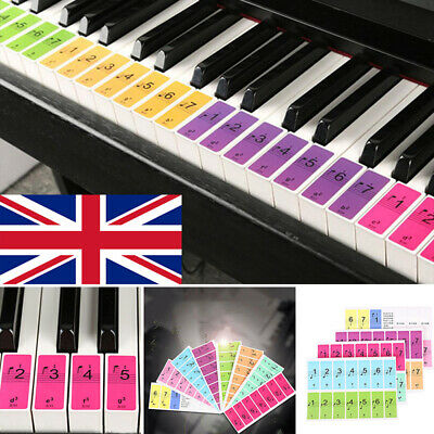 UK 88 Colorful keys Music Keyboard Piano Stickers Set Removable Stickers New