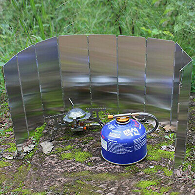 Stove Windshield10plate Foldable Outdoor Camping Picnic Gas Burner BBQ Windbreak