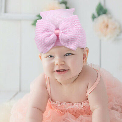 Newborn Baby Girls Hairband Striped Headband Headwear Toddler Soft Beanie Hat