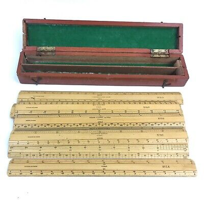 F. McCarthy & Sons Set of Vintage 1940 Wooden Scale Rules in Wood Case TH401511