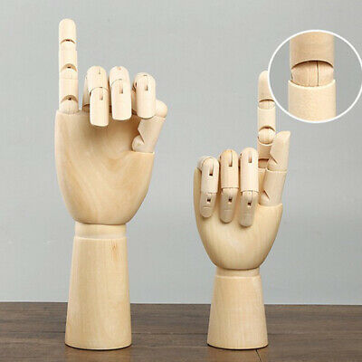 2pcs Big & Small Jointed Wooden Right Hand Mannequin Hand Painting Manikin Aid