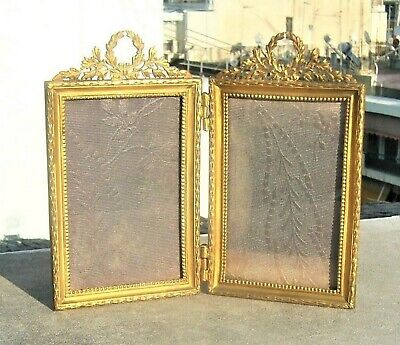Antique French Empire Double Picture Photo Frame Gild Brass Ormolu 19Th C.