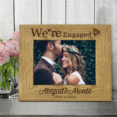 Personalised Engraved Wooden Photo Frame Custom Gift for Engaged Valentine's Day