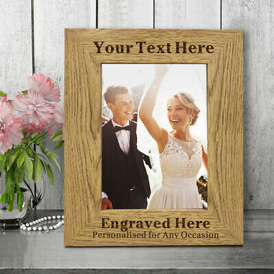 Personalised Engraved Wooden Photo Frame Anniversary Wedding Valentines Day Gift