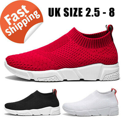 Womens Sneakers Trainers Ladies Breathable Mesh Slip on Running Socks Shoes Size