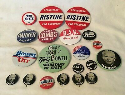 Junk Drawer Lot Political Pinback Buttons Mostly Indiana