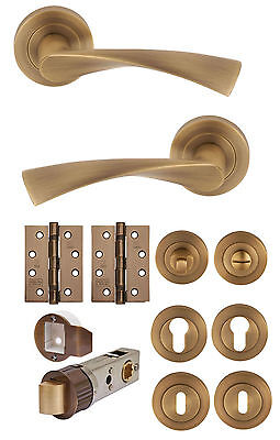 FLEX Antique Brass Lever on Rose Door Handles Accessories/Latches/Hinges Privacy