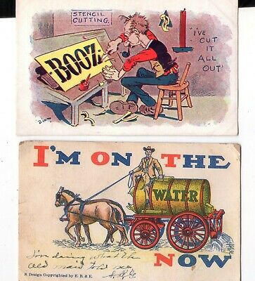 Vintage Turn of Century Prohibition Post Card LOT of 2 Zin EB&E Cartoon