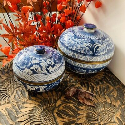Two Vintage Hand Decorated Blue and White Oriental Brass Edged Lidded Jars