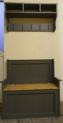 New Handmade Solid Pine Monks Bench With Coat Rack Farrow and Ball Colour Choice