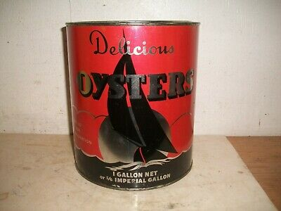 Thos E Jones & Co 1 Gallon Oyster Tin Can Oxford Maryland MD 118 Red Sail Boat