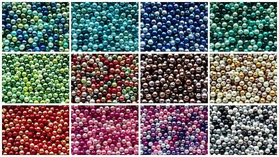 400 4mm, 200 6mm, or 100 8mm Glass Pearl Beads/Glass Pearl Bead Mixes