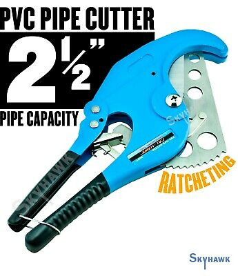 "Ratcheting PVC Pipe Cutter STAINLESS STEEL BLADE cuts up to 2-1/2"" diameter"