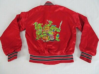 Teenage Mutant Ninja Turtles TMNT Chalk Line Red Satin Jacket Size Youth 10/12