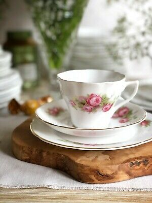 Imperial Porcelain Tea Cup, Saucer and Cake plate Trio Bone China Shabby Chic