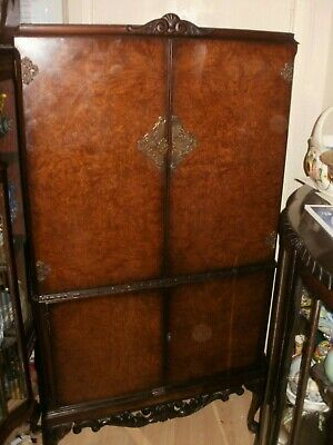 discounted//price// large/burr walnut drinks cocktail.cabinet carved l 1930s/50s