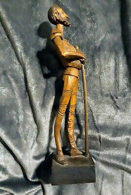 "Vintage HAND CARVED WOODEN OURO ARTESANIA DON QUIXOTE NO. 1021 7"" tall"