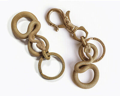 Pure Brass Viper Snake Keychain Pendant Python Serpent Key Chain Gift for Men