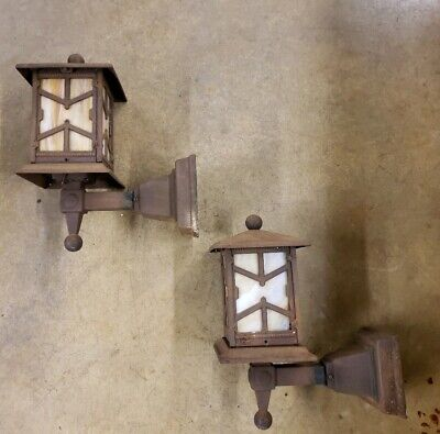 Pair Antique Arts & Crafts Porch Light Sconces Mission Cast Iron Tudor Slag Glas