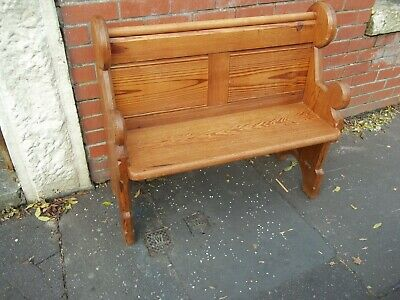 good  color quality arts craft style pitch pine church bench size  3ftx3.5ft