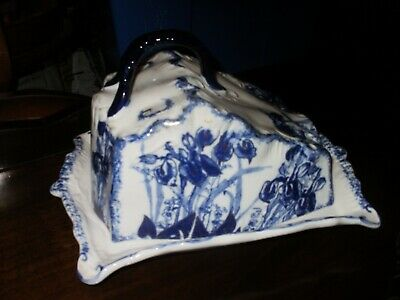 large decorative blue white with highlights in gold cheese dish and cover victo