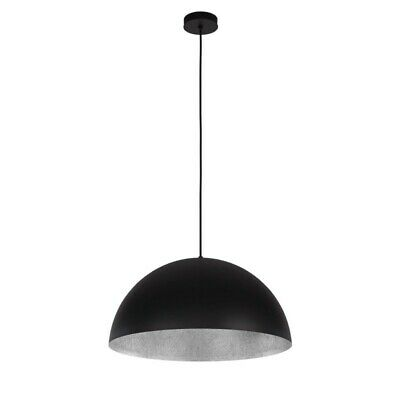 "Paris Prix - Lampe Suspension Design ""tuba"" 70cm Noir & Argent"