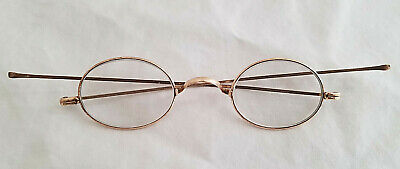 Antique 1800/1900's* Straight temple oval eyeglasses* gold/copper hue*