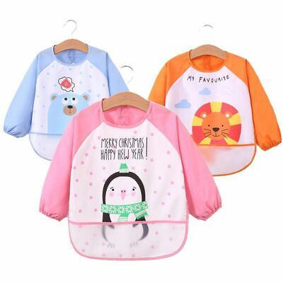 Baby Toddler Kids Waterproof Long Sleeve Bibs Apron Cartoon Animal Feeding Smock