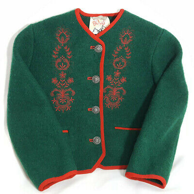 Vintage Boos Austrian Cardigan Sweater Jacket Sz 116 US 6 Green Red Embroidery