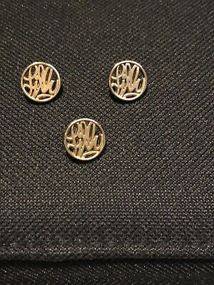 """Lot Of 3 Lilly Pulitzer Shank Buttons Replacement Gold Circle """"Lilly"""""""