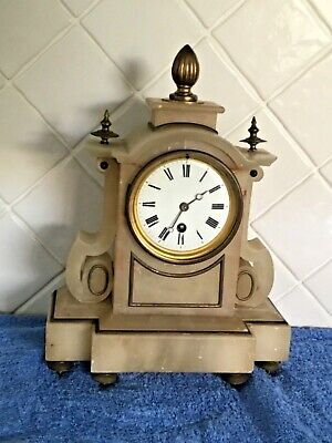 Antique French Alabaster 8 Day Mantle Clock In Excellent Working Condition