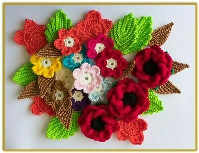 40+ Crocheted Applique / Embellishment 2D, 3D Flowers, Shapes Multi colours Yarn