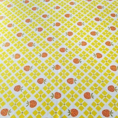 "Vintage Table Cloth Strawberry Checkered Oblong Oval 66"" x 55"" Yellow White"