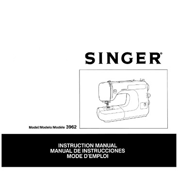 Singer 3962 Sewing Machine Embroidery Serger Owners Manual printed Comb Binding