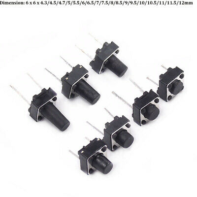 6x6mm Series Small Momentary Tactile Push Button Switch DIP 2 Pin PCB 10-100Pcs