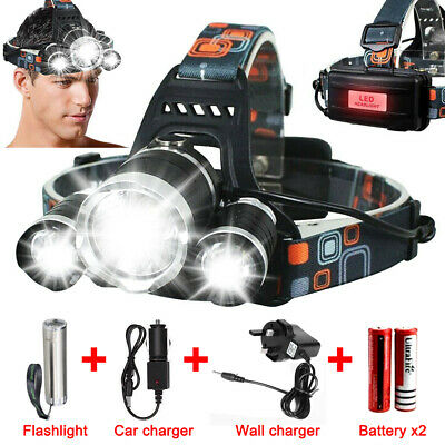 12000000LM T6 LED Headlamp Headlight Torch USB Rechargeable Flashlight Hiking UK