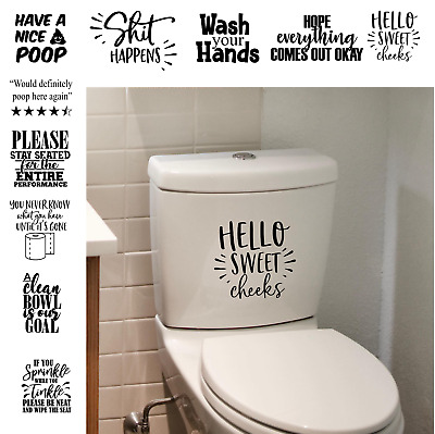 Funny Toilet Stickers Bathroom Quotes Sticker Toilet Seat Wall Tile Frame Decal