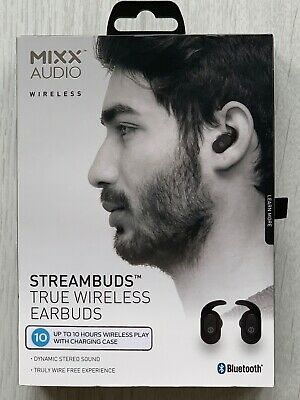 Streambuds Wireless Earphones + Charging Dock - 10 Hours Play Time - Black -New