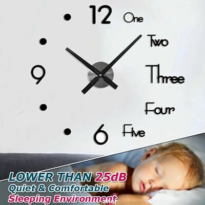 Large Wall Clock Modern Design 3D Wall Sticker Clock Silent Home Room DIY Decor