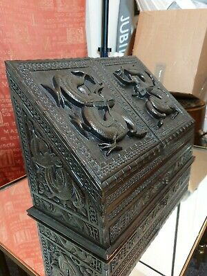 Exceptional! Antique 19th Century Chinese Dragons Carved Stationary Box Cabinet