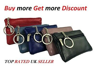 New women ladies men genuine leather small COIN card key ring wallet purse BG104