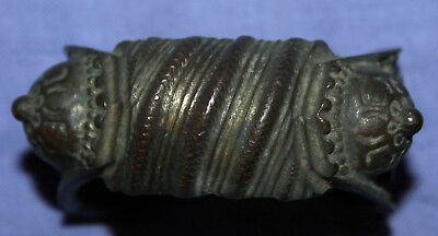 Antique hand made folk medieval Greek fertility bronze bracelet